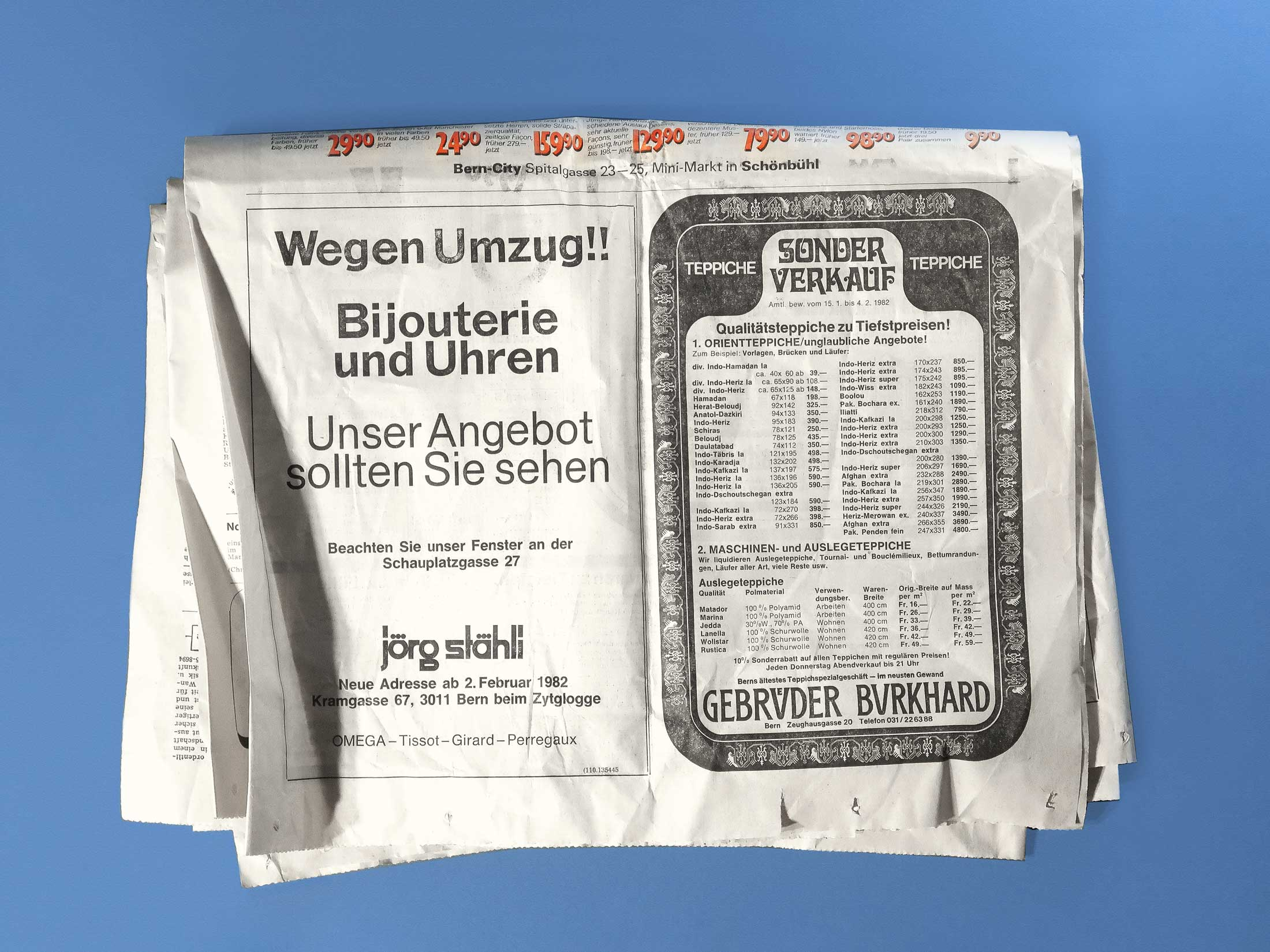 Old newspapters can be an rich source, Berner Zeitung, 1982.