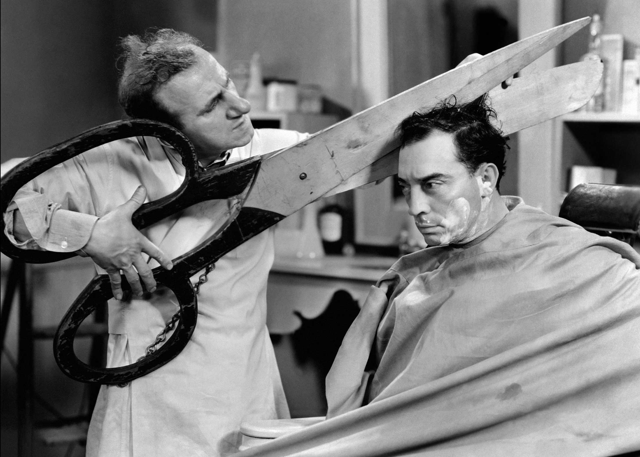 Jimmy Durante and Buster Keaton got it; every size it's design (Film Still, 1933).